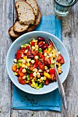 Bean and chickpea salad with peppers