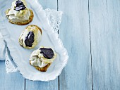 Profiteroles with liquorice cream
