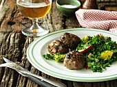 Meatballs with a kale and apple salad
