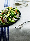 Vegetable salad with chicken, Savoy cabbage, peppers and spring onions