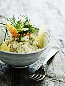 Dill risotto with prawns