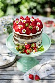 Naked cake with strawberries and daisies on a garden table