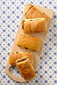 Puff pastries filled with chocolate