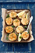 Salmon and potato fritters with peas