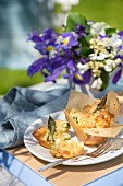 Asparagus muffins in baking paper