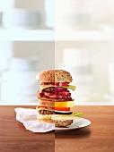 Half a burger and half vegetable burger (photo collage)