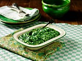 Creamy spinach in a ceramic dish