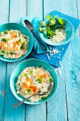 Basil risotto with smoked salmon