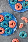Donuts mit rosa und blauem Zuckerguss und Zuckerstreuseln (Draufsicht)