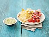 Gratinated nachos with a dip