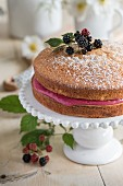 Blackberry cream cake