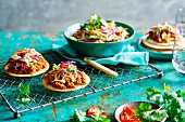 Pulled chicken tostadas with coleslaw