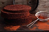 Three chocolate cake bases