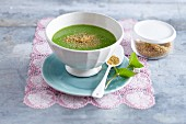 Green pea soup with quinoa and mint
