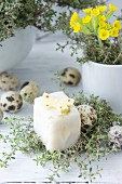 A petit four decorated with a butterfly, thyme and sugar eggs