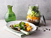 Pumpkin and lentil salad from a jar