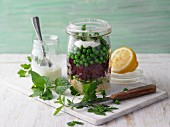 Beetroot tabbouleh in a jar