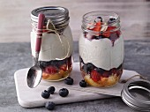 Jars of berry trifle