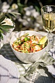 Prawn salad with lime