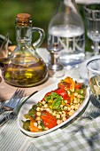 Chickpea salad with peppers and mint