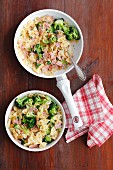 Farfalle with ham and broccoli in a creamy cheese sauce