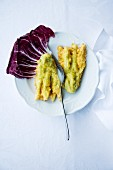 Fiori di zucca fritti (battered courgette flowers, Italy)