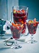 Sangria with oranges, grapes and nectarines