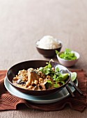 Aubergine, chickpea and peanut curry