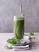 A chard and chickweed smoothies with gooseberries and broccoli florets