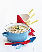 Noodle soup with chicken and sweetcorn