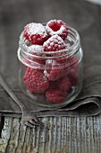 Raspberries with homemade raspberry icing sugar