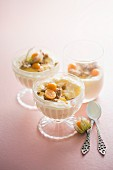 Bowls of desserts made with physalis