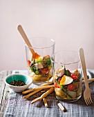 Salad Niçoise in glasses