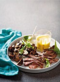 Sliced rump steak with mushrooms and Bernaise sauce