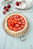 Strawberry cake with icing sugar