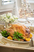 Roast turkey with orange and herbs for Christmas dinner