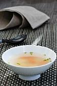 Miso soup with ravioli