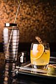 Mandarin cocktail with sage and apple vinegar