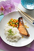 Miso baked salmon with steamed rice and Edamame beans (Japan)
