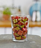 A glass of sliced rhubarb