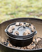 Clam bake in a Dutch oven on a barbecue (USA)