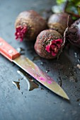 Beetroot with a knife