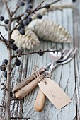 Old cutlery with tag, branch of sloes and pine cones dipped in wax