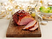 Glazed roast Ham for Christmas, sliced