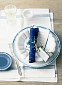 An Easter place setting with a place card and a menu