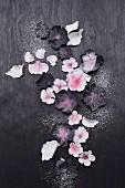 Black and white sugar flowers