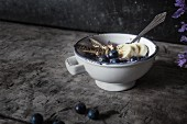 Yoghurt with blueberries, bananas and crispy grasshoppers