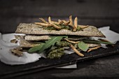 Rosemary crispbread with pesto, rocket and meal worms