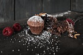Chocolate muffins topped with meal worms