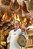 Butcher Stefano Falorni in his shop Macelleria Falorni in Greve, Tuscany